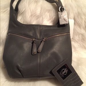 Tignanello three compartment shoulder bag in Grey